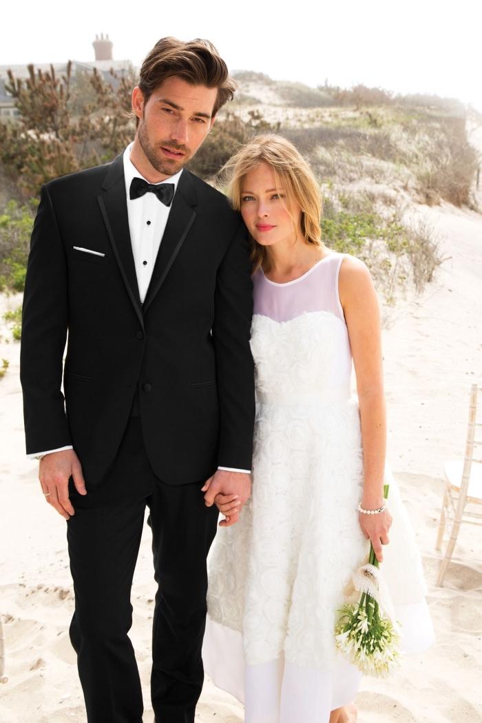 smoking de mariage noir et blanc avec une poche droite pour un rendu sophistiqué et classique