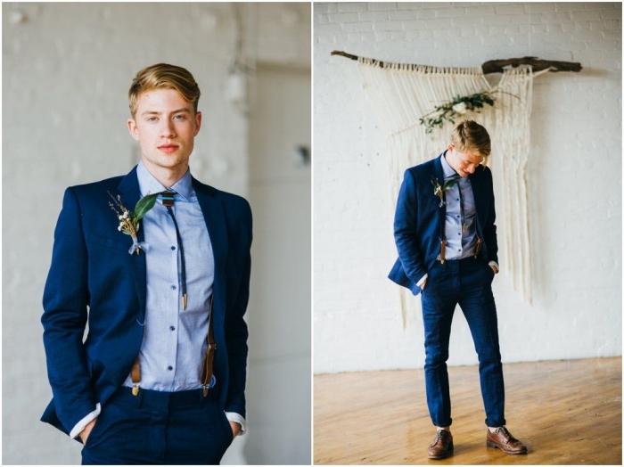 look à la fois chic et décontracté avec un costume bleu marine, tenue bretelle costume, des bretelles en cuir assorties avec une cravate ficelle