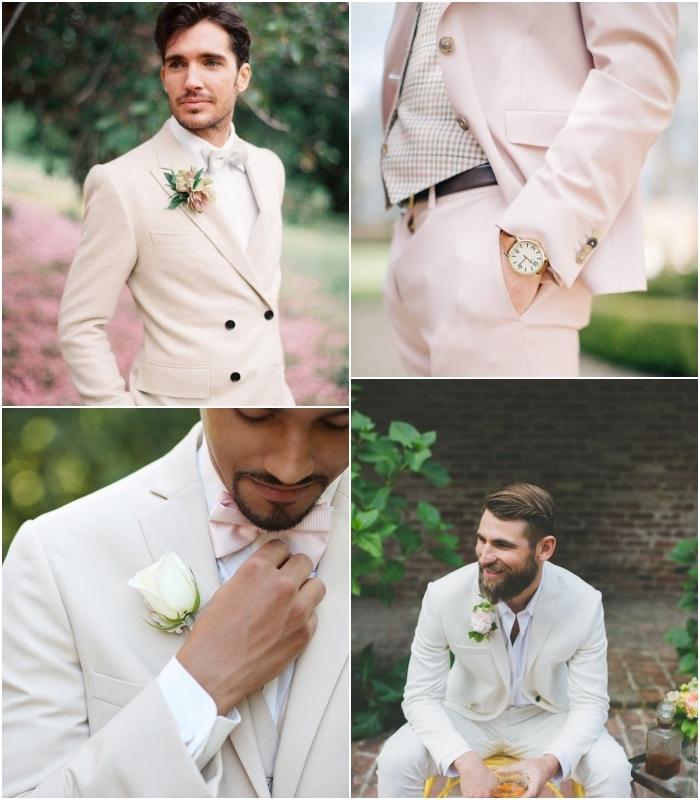 tendance tenue homme mariage avec des tons neutres ou pastel, quel costume choisir pour un mariage d'été