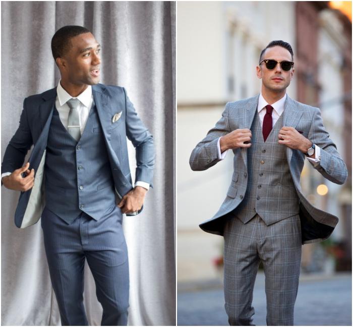 look chic et élégant en costume mariage homme de trois pièces à gilet ajusté qui met en valeur la poitrine