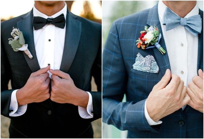 quelle costume marié porter avec un noeud papillon, deux modèles de vestes tendance à carreaux ou à revers constrasté