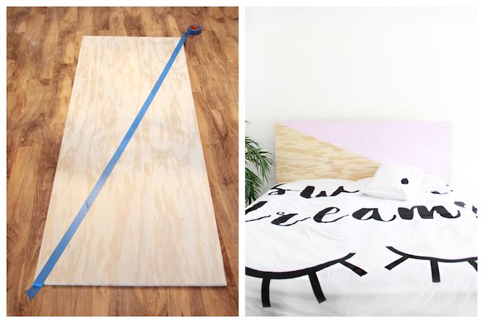 tete de lit design en bois à moitié repeint de couleur rose mdf, linge de lit originale, deco chambre scandinave cocooning
