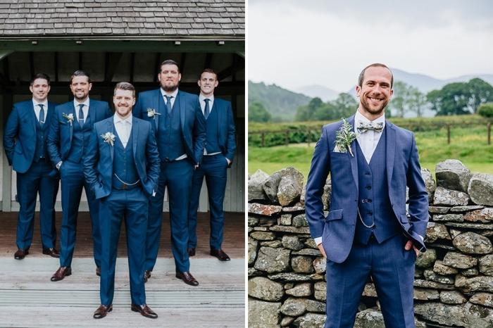 un costume marié à trois pièces d'une élégance intemporelle en couleur bleu marine assorti avec un noeud papillon imprimé