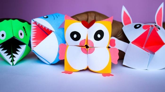 idée pour un bricolage maternelle original sur le thème des animaux, une activité de pliage cocotte en forme d'animal
