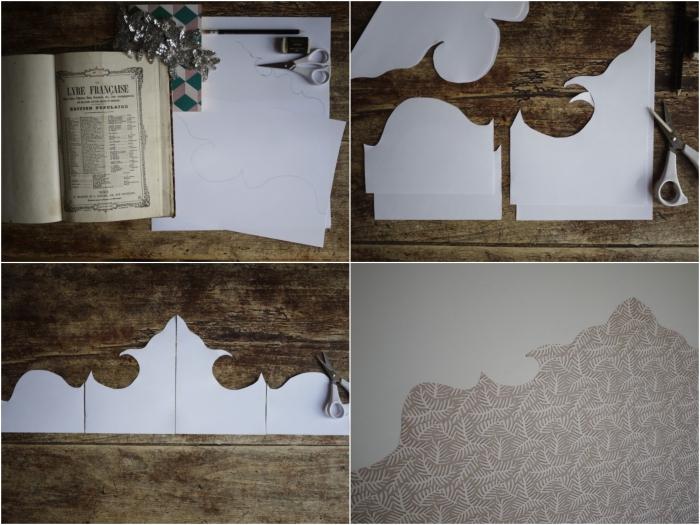 tuto facile pour faire une tete de lit avec du papier peint découpé, aux lignes qui rappellent les courbes baroques