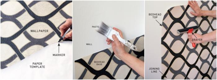 comment faire une tete de lit originale avec du papier peint découpé en