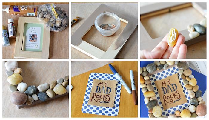 idée de bricolage fête des pères étape par étape, cadre photo décoré de galets avec texte j'ai un super papa sur un bout de papier kraft collé sur papier scrapbooking