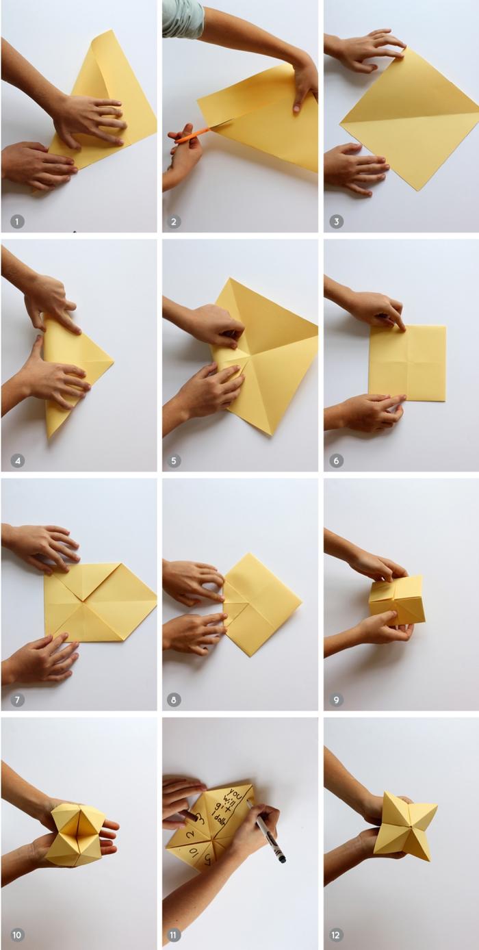 modèle de cocotte papier à motifs floraux imprimés spécial fête de la thanksgiving, un pliage origami facile pour la fête de thanksgiving