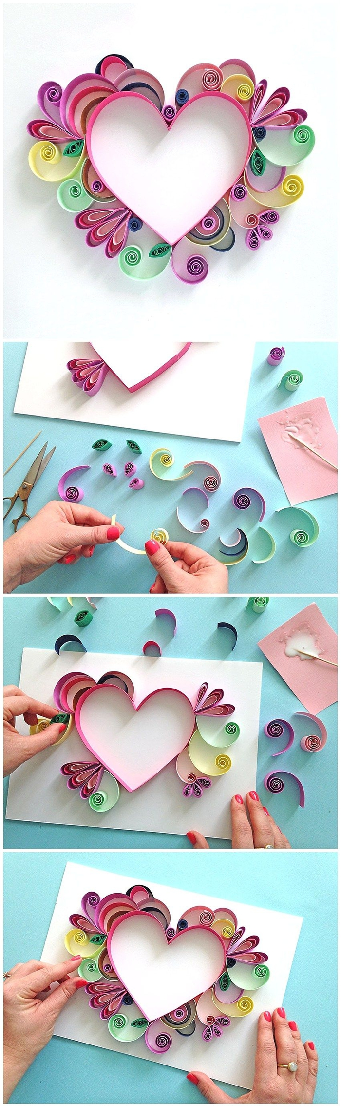 jolie carte de voeux personnalisée pour la fête des mères décorée avec un coeur en quilling, activite fete des meres pour créer une carte hors du commun