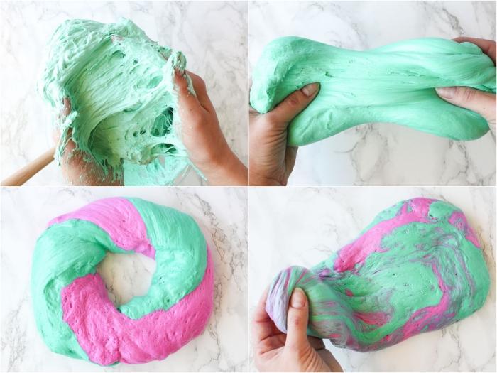 recette diy pour fabriquer du fluffy slime bicolore à base de mousse à raser, une pâte à malaxer douce et très agréable à manipuler