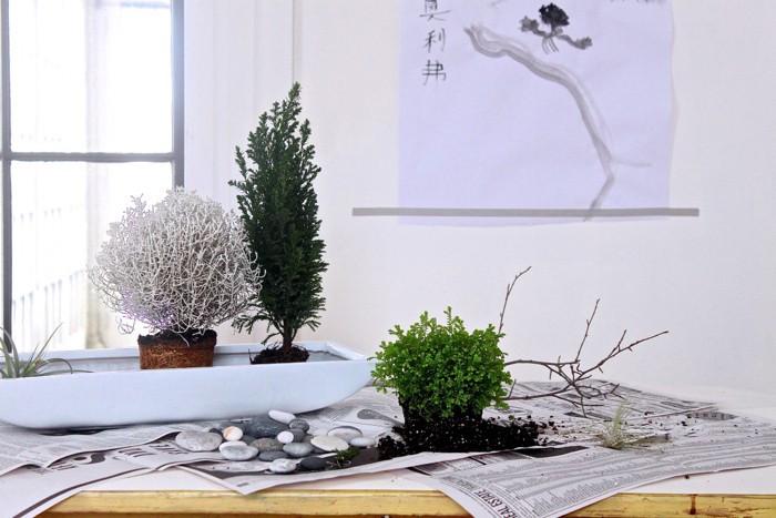 miniature jardin miniature zen décoratif avec petites plantes en pot