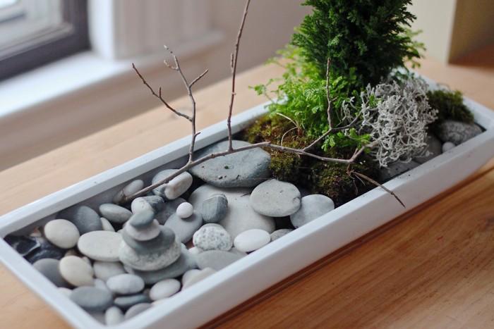 déco de bureau zen mini jardin japonais blanc design avec galets