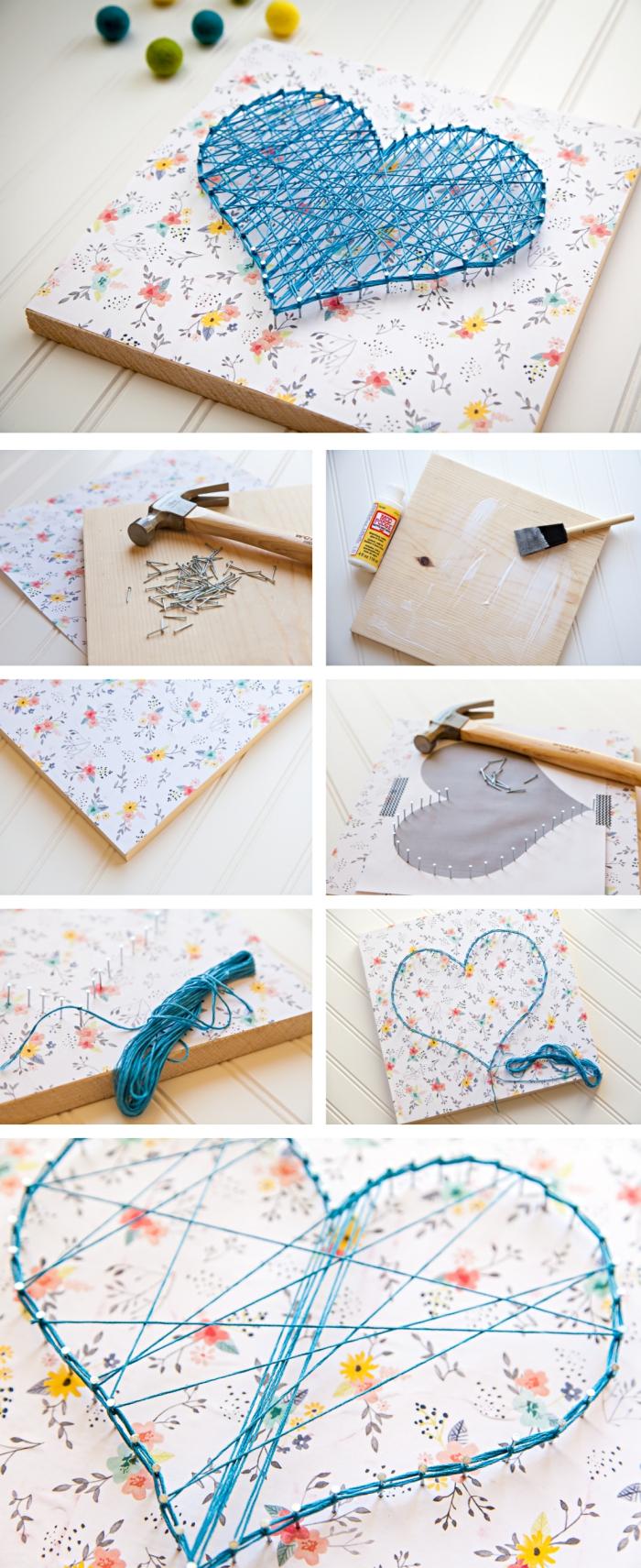 étapes à suivre pour maîtriser la technique de faire un objet décoratif en fil tendu, modèle de panneau décoratif à design floral et coeur