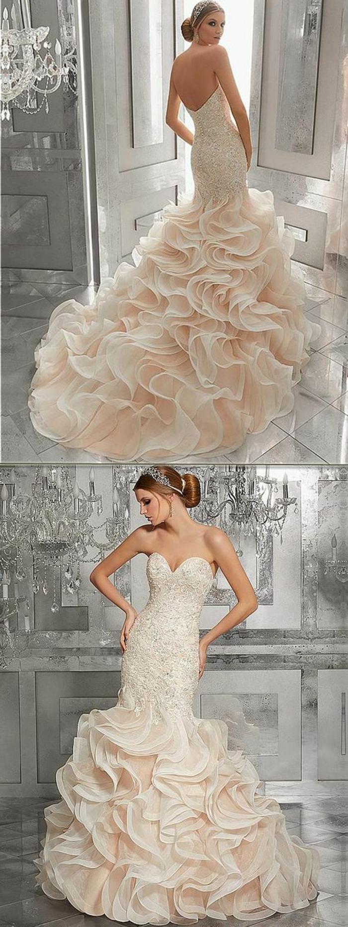 robe sirene mariage, robe de mariée sirène, riche en volants en couleur écrue dans la partie basse, robe sirene mariee, silhouette raffinée