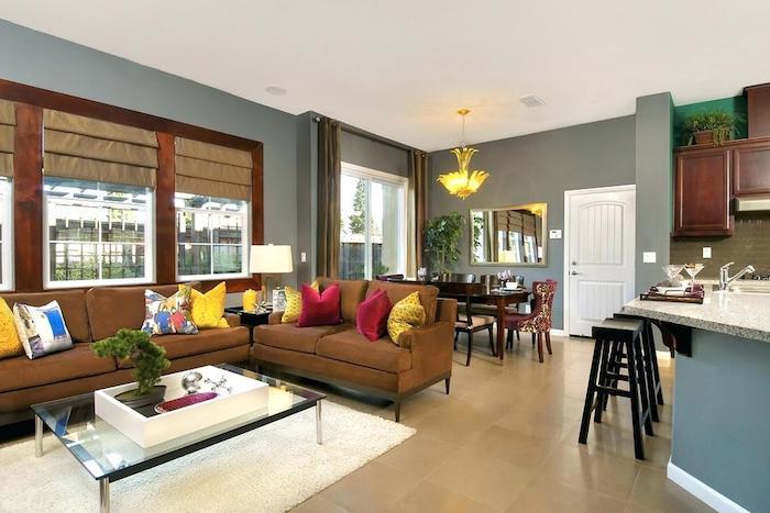Design décoration intérieure salon deco moderne salon déco petit appartement gris murs