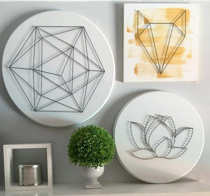 exemple d'objets fait main à partir de panneau de bois peint en blanc, activité manuelle facile avec fil et clous
