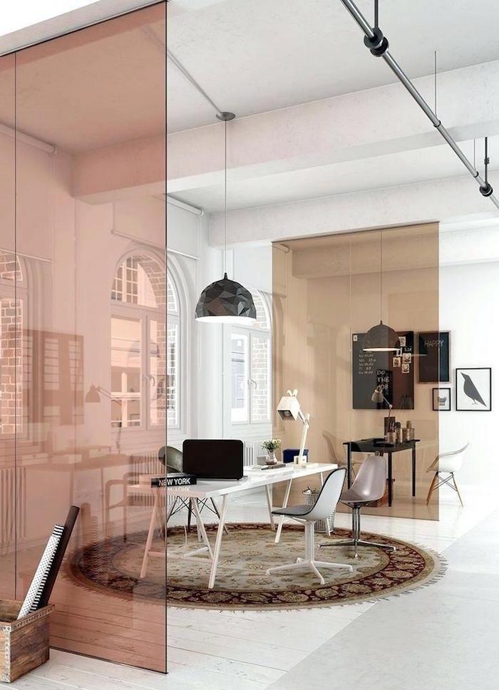 vitre de séparation de pièce colorée pour bureau cuisine et salon