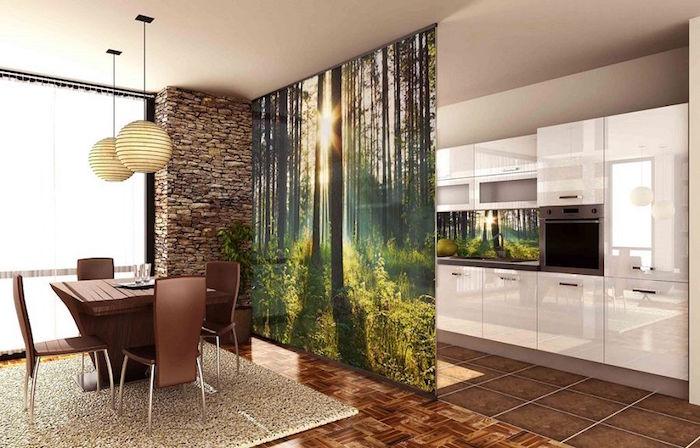cloison vitrée cuisine imprimée avec paysage nature pour séparer salle à manger