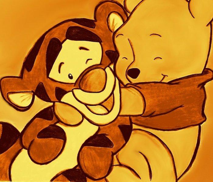 Dessin animé mignon idée dessin mignon a imprimer cool idée dessin winnie l'ourson et tigre son ami comme bébés