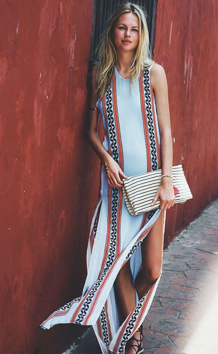 Vetement hippie chic robe longue hippie chic femme beauté idée tenue simple longue robe motif tribal sandales mignonnes