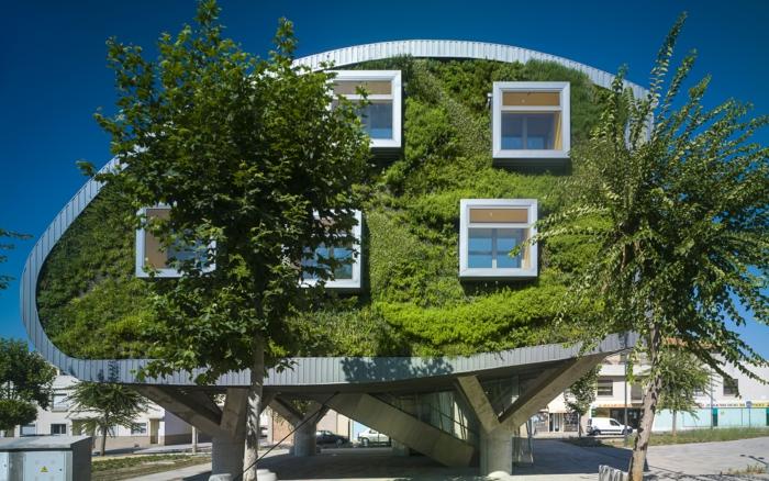 mur végétalisé sur la façade d'un édifice en forme futuriste ovale, culture verticale, mur vegetal exterieur autour de cinq fenêtres carrées