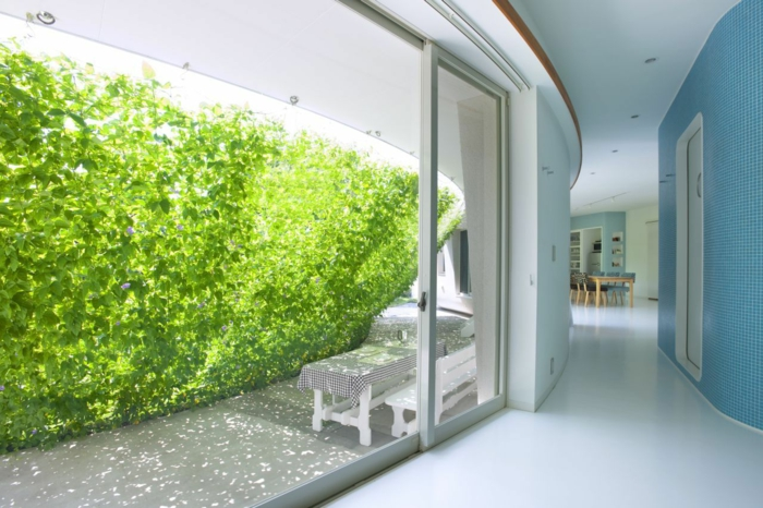 jardin vertical sur des fils transparents en forme de paravent vert, culture verticale qui sert comme ombre pour un coin de relax de véranda avec banc blanc et table rectangulaire blanche avec couverture a carreaux