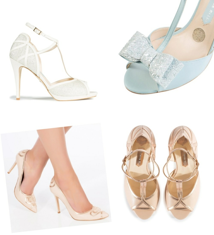 chaussure mariee, chaussure femme mariage, chaussure ceremonie femme, chaussure dorée mariage, chaussure blanche mariage, chaussure bleu pastel