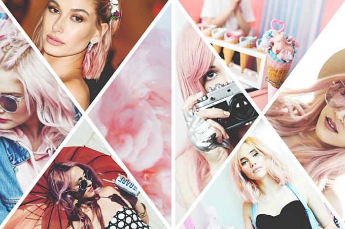 éclaircir les cheveux chatain clair avec technique de balayage rose pastel, modèle de coiffure aux cheveux tressés sur le haut de la tête