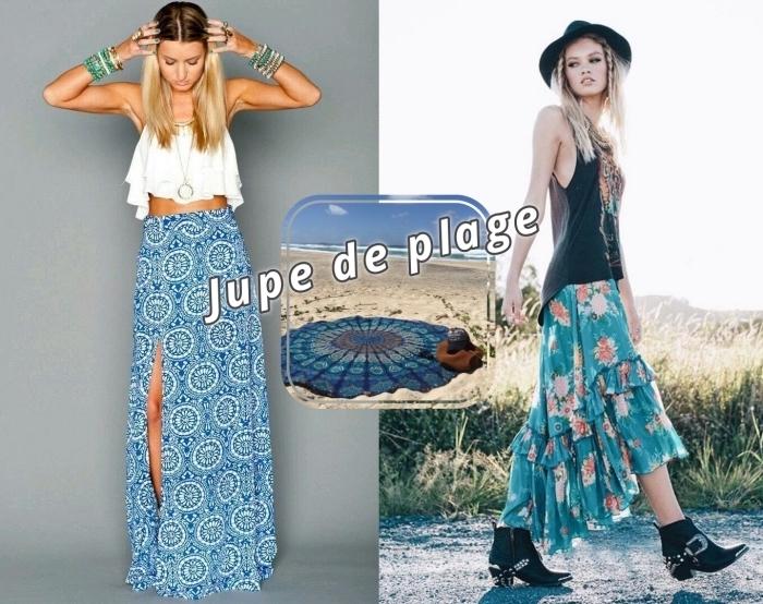 idée comment porter une jupe longue pour look boho chic, accessoires de style hippie chic avec bracelets et bagues or