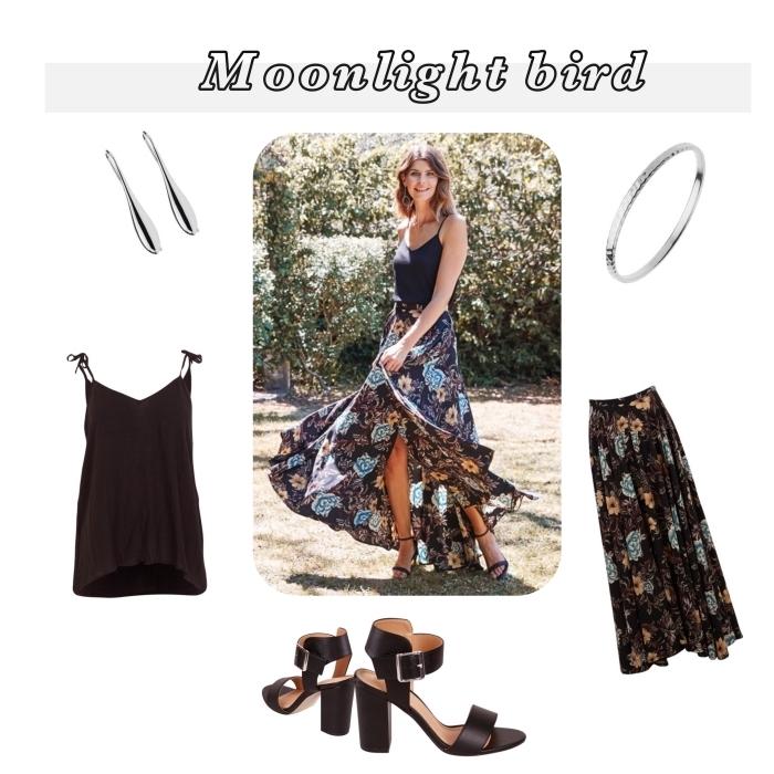 idées comment assortir ses pièces et accessoires pour une tenue boho chic femme, modèle de jupe longue noire à design floral