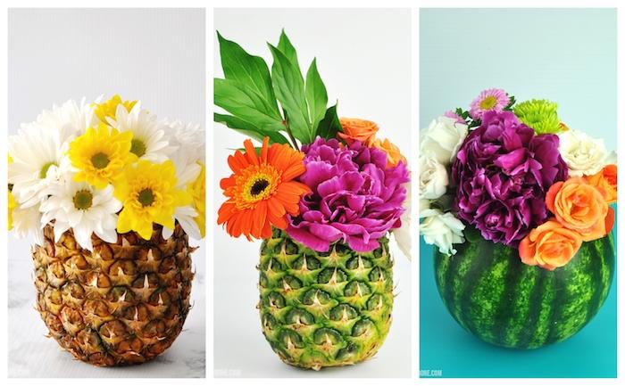 exemple d activité manuelle pour ado en ananas ou pasteque vidé avec bouquet de fleurs à l intérieur