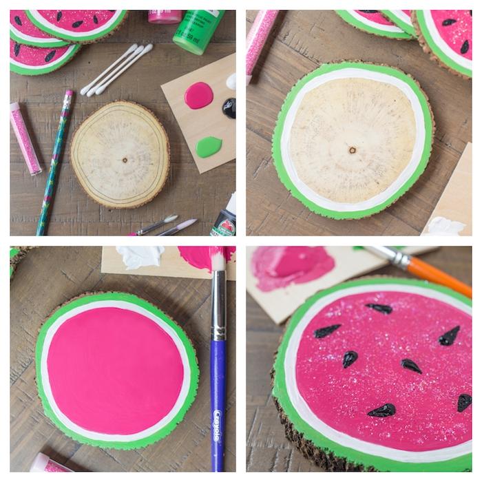 activité manuelle facile et rapide, idée de dessous de plat en motif pasteque en peinture verte, blanche et rose à pépins de peinture noire