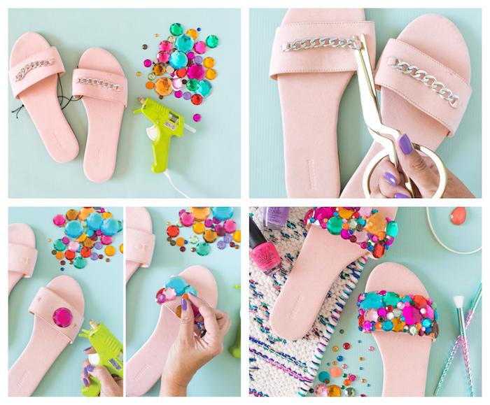 activité manuelle facile et rapide en sandales femme rose décorées de strass et pierres colorées, customiser ses chaussures
