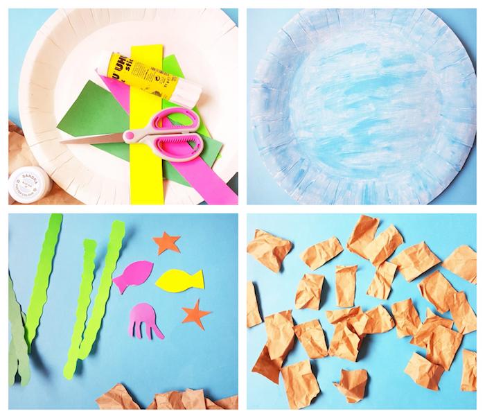activité manuelle maternelle, fonds marins, assiette en papier bleue décoré d algues, poissons en papier coloré et sable en papier kraft