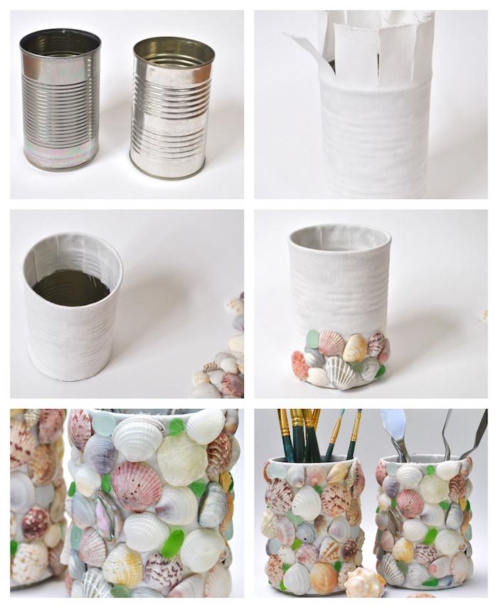 activiter manuelle avec coquilles de mer colorées pour customiser une boite de conserve, enveloppée de tissu blanc, tuto bricolage adulte