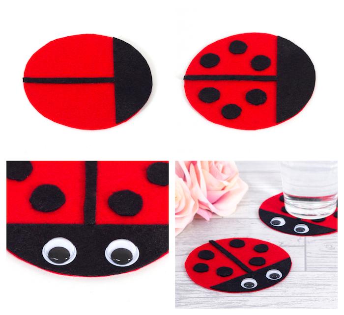 activité manuelle maternelle avec des cercles en feutrine noir et rouge imitation coccinelle, des yeux mobiles, bricolage dessous de verre