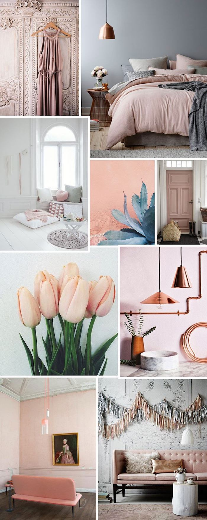 Peinture rose poudré chambre rose et blanc appartement decoration chambre couleur schème moodboard chambre à coucher planche de tendances