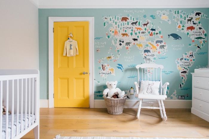 quelle couleur de peinture pour une porte chambre d'enfant, réveiller une chambre bébé