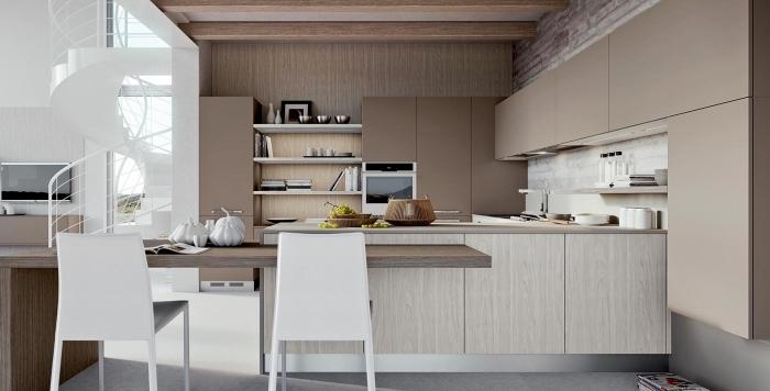 quelle couleur combiner avec meubles en bois pour aménager une cuisine moderne, modèle d'escalier blanc
