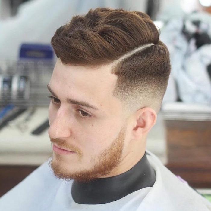 coupe de cheveux homme court sur les cotés long dessus roux châtain blond vénitien et barbe courte rousse