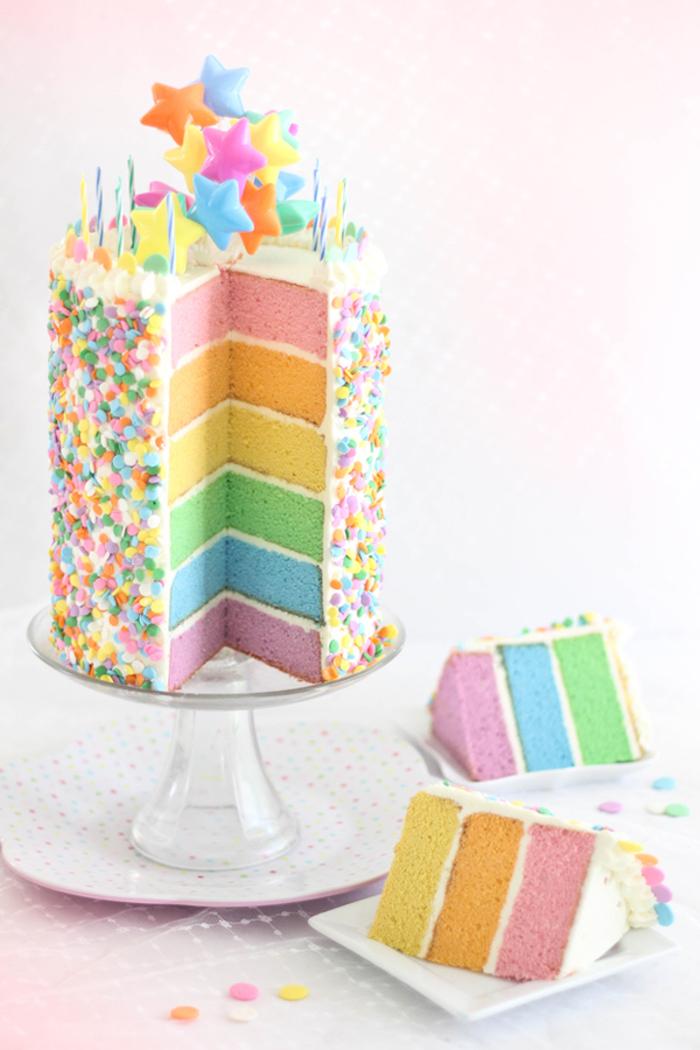 Gâteau avec génoise coloré arc en ciel recette gateau anniversaire gateau enfant 3 ans haute gateau