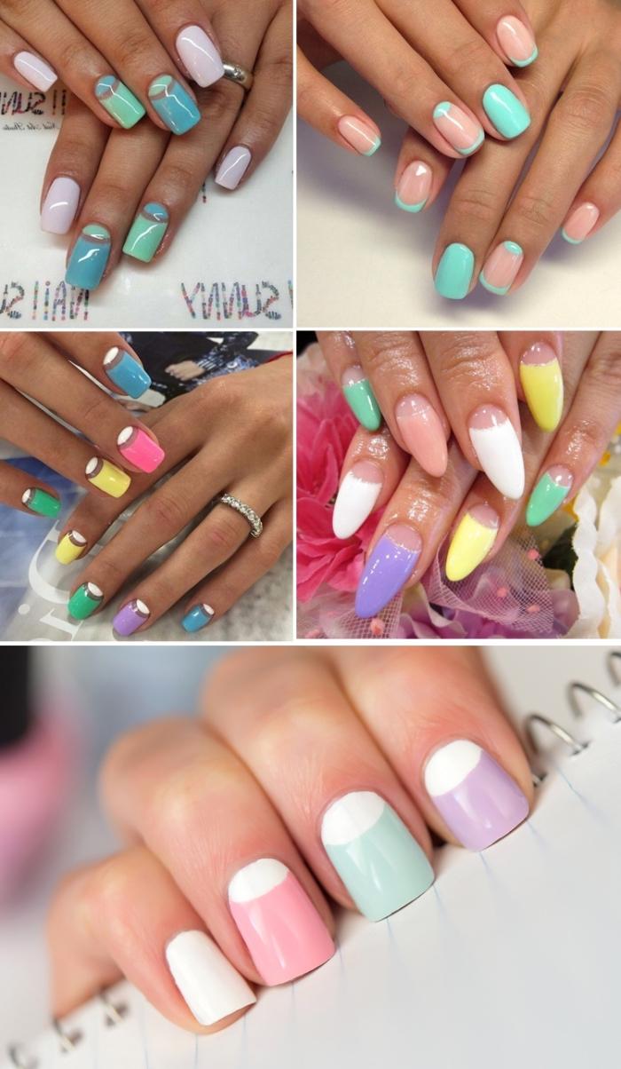 variations de la manucure française en couleurs pastel, modèle d'ongles longs ou courts à effet demi-lune en couleurs