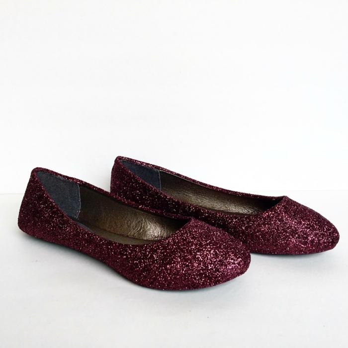 chaussure de mariée confortable en strass bordeaux, ballerines, chaussure plate mariage, bouts arrondis, intérieur couleur bronze