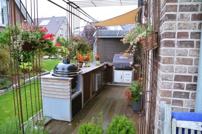 quel plan de travail exterieur pour une cuisine ouverte, modèle de déco cuisine en L avec rangement ouvert