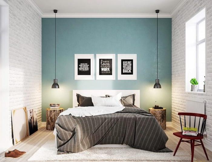 Couleur idéale pour chambre adulte idée papier peint chambre couleur mur chambre comment assortir les couleurs mur briques blanches et mur bleu adorable déco triptyque