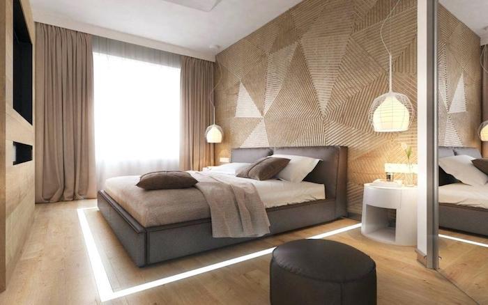Peinture mur chambre couleur peinture chambre adulte scandinave cool déco beige et gris lit table de chevet moderne interieur