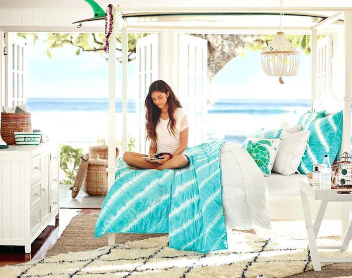 Chambre parentale moderne couleur peinture chambre déco moderne intérieur chambre blanc et bleu océan thème