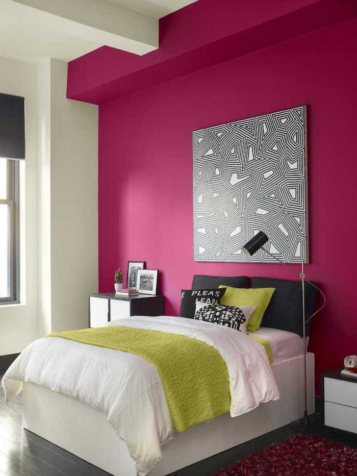 Idée papier peint chambre couleur peinture chambre choisir la couleur de sa chambre rose et vert originale combinaison