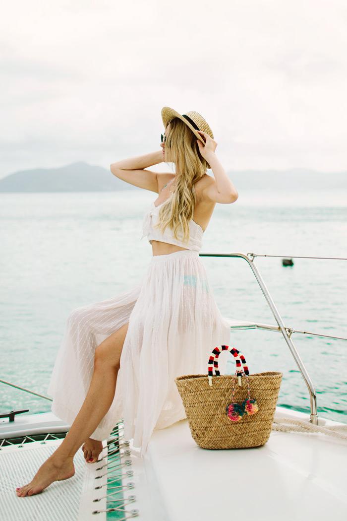 Vêtements tendance 2018 robe longue blanche robe longue hippie chic vacances été yacht tenue deux pièces robe transparante