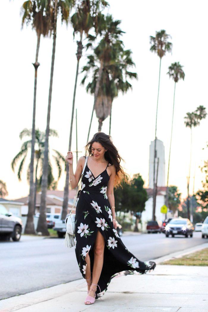 Robe de plage femme style bohème robe droite fluide tres legere longue robe fendue robe noir à fleurs tenue mignonne